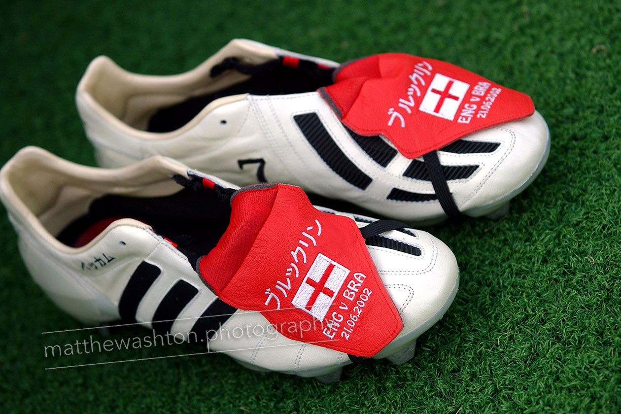 England v Brazil - The boots of England's captain David Beckham. © Matthew Ashton